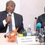 Charles Konan Banny, Essy Amara, Bertin Konan Kouadio et Jérôme Kablan Brou anime une conférence de presse conjointe …