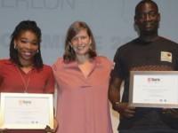 Les lauréats de la « Bourse Ghislaine Dupont et Claude Verlon » 2018 en Côte d'Ivoire :  Taby Badjo Marina DJAVA, lauréate journaliste et   Aman Baptiste ADO, lauréat technicien