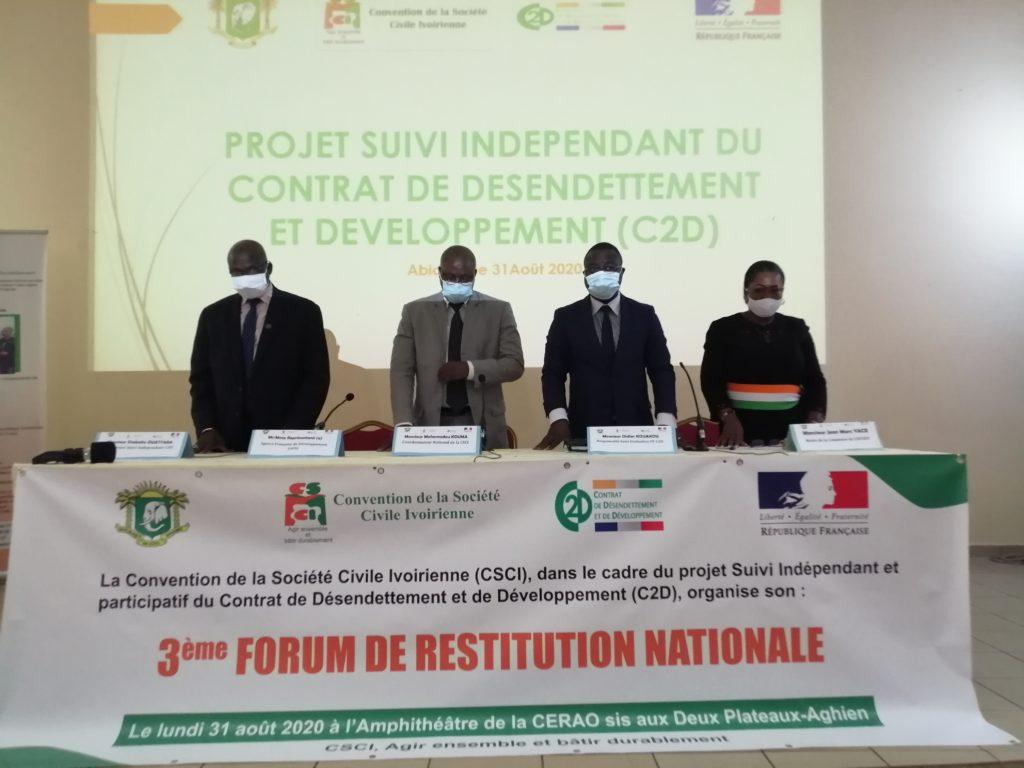 Forum de restitution nationale du Suivi Indépendant et Participatif de la société civile des projets du C2D en Côte d'Ivoire .
