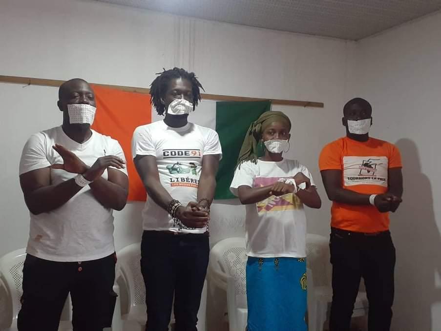 Conférence de presse des mouvements de la société civile :Tournons la Page Côte d'Ivoire, Code 91, Les indignés de Côte d'Ivoire, Novox Côte d'Ivoire