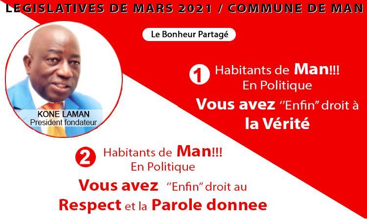 LÉGISLATIVES de Mars 2021 de la COMMUNE de Man: Koné Laman, président Fondateur Candidat